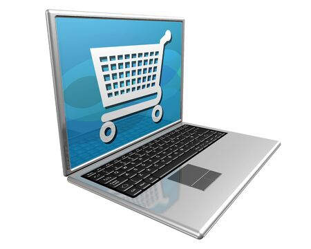 Laptop computer showing a shopping trolley, representing shopping on the Internet Stock Photo - 3136998