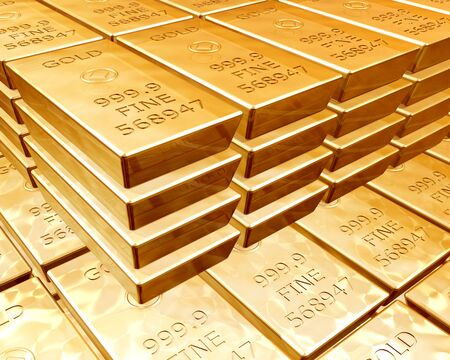 Stacks of pure gold bars on piles of bullion