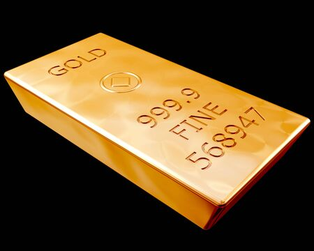 Single bar of pure gold isolated on a black background Stock Photo - 3145488