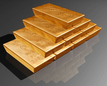 speculative: Stack of pure gold bars on a reflective surface. Stock Photo