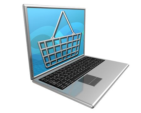 Laptop computer showing a shopping basket to represent shopping online. Stock Photo - 3145490
