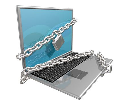 lockout: Laptop computer bound in chains in an attempt to make it secure Stock Photo