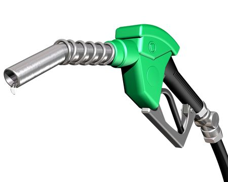 gas pump: Isolated illustration of a dripping gas pump nozzle