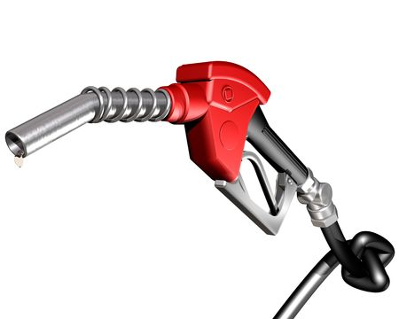 gas nozzle: Isolated illustration of a dripping gasoline pump nozzle and hose with a knot tied in it