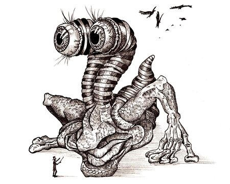 enormous: Ink drawing of an enormous bogeyman with protruding eyes.