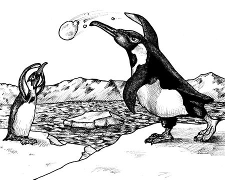 Ink drawing of two penguins having a snowball fight at the North Pole. photo