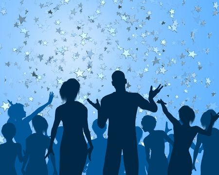 socialize: Group of people silhouetted at a cool party Stock Photo