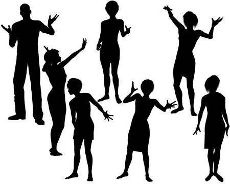 socialize: Collection of seven silhouettes of people enjoying a party