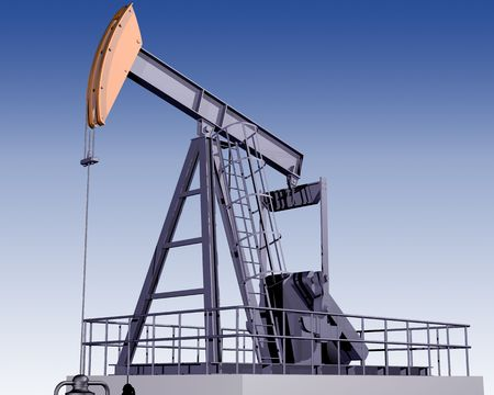 oilfield: Illustration of an oil rig on a clear day Stock Photo