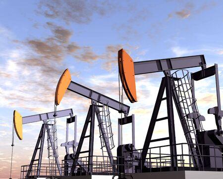 puits de petrole: Illustration de trois plates-formes p�troli�res dans le d�sert