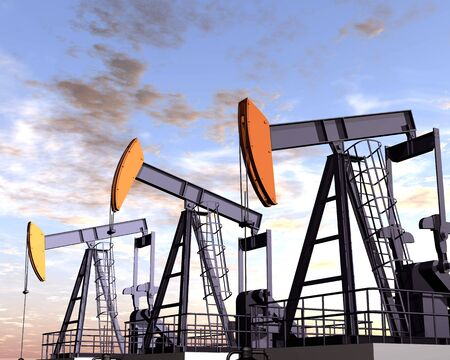 drilling well: Illustration of three oil rigs in the desert Stock Photo
