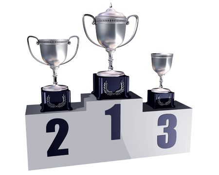 plinth: Illustration of highly polished trophies on a podium showing first, second and third places Stock Photo
