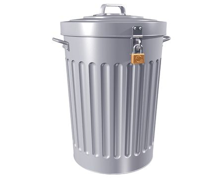 dispose: Illustration of a traditional trashcan with a lock Stock Photo
