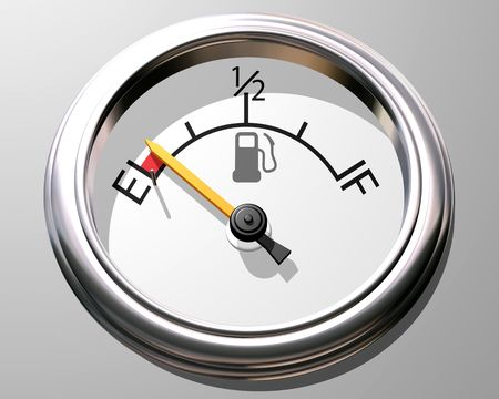 Illustration of a fuel gauge with the needle close to empty illustration