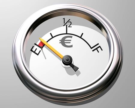 liquidity: Illustration of a gauge representing  running out