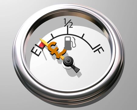 crunches: Illustration of fuel gauge showing low on fuel and low on cash Stock Photo