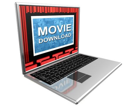 Isolated illustration of a laptop showing movie downloads over the Internet illustration