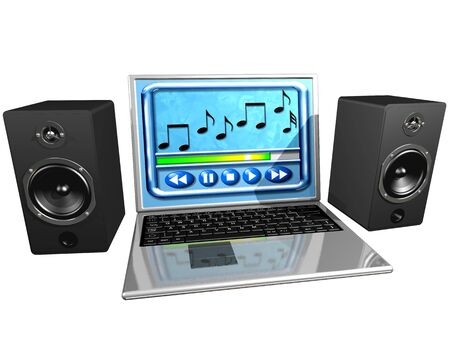 Isolated illustration of a laptop  and speakers playing music illustration