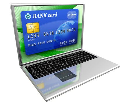 lending: Isolated illustration of a laptop with a credit card on the screen depicting online banking or purchasing on the Internet Stock Photo