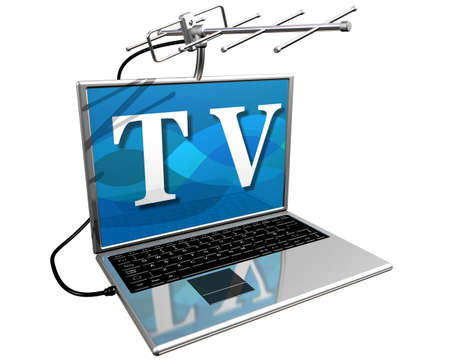 convenience: Isolated illustration of a laptop computer with a TV aerial mounted on top showing the diversity of entertainment on the Internet