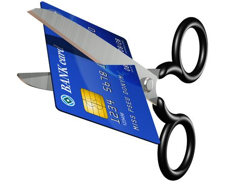 snip: Isolated illustration of a credit card being cut in two with scissors Stock Photo