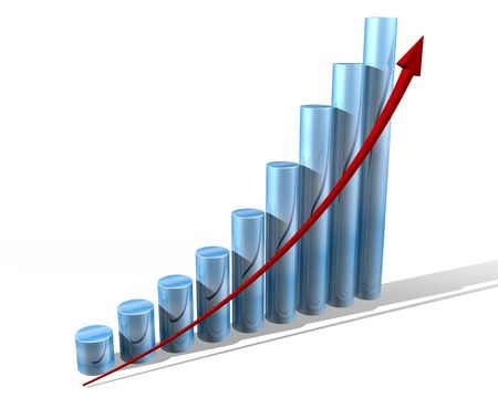 upward graph: Illustration of a bar chart showing everything is doing well Stock Photo