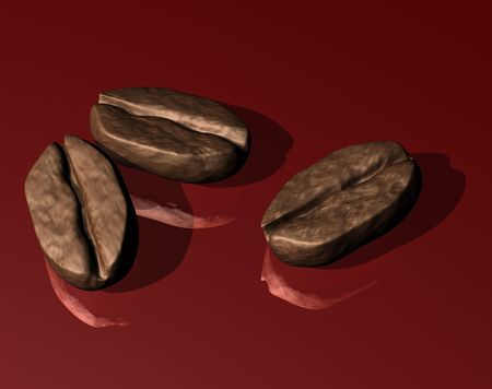 Illustration of three coffee beans on a shiny red surface illustration
