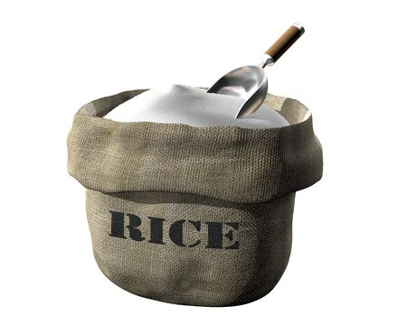 Isolated illustration of an open sack containing rice illustration
