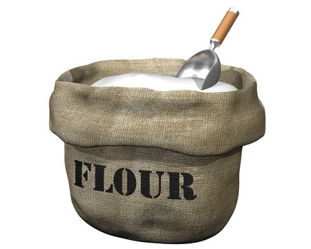 wholesale: Isolated illustration of an open sack containing flour Stock Photo
