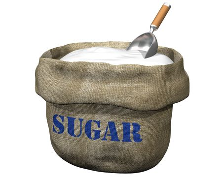 hessian bag: Isolated illustration of an open sack containing sugar Stock Photo