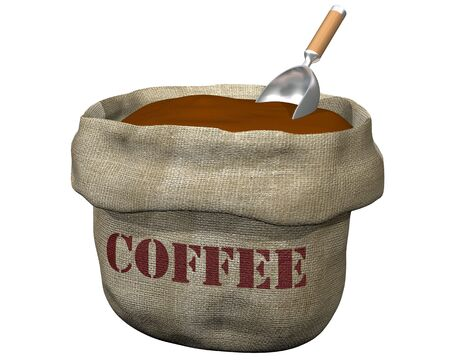coffee sack: Isolated illustration of an open sack containing coffee