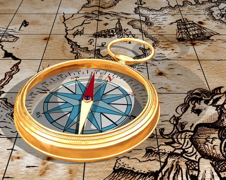 Illustration of a golden compass on an antique map