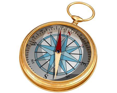 puntos cardinales: Aislados ilustraci�n de una br�jula dorada Foto de archivo