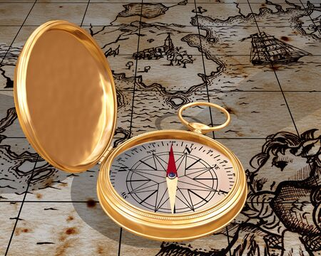 Illustration of antique compass on a old map illustration