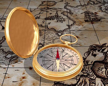 puntos cardinales: Ilustración de la brújula en un antiguo mapa de edad