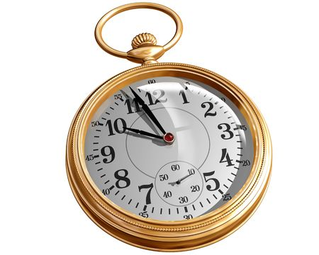 gold watch: Isolated illustration of a gold pocket watch