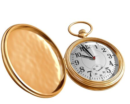 timekeeper: Isolated illustration of an open gold pocket watch