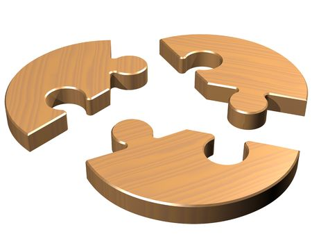 separated: Isolated illustration of a round jigsaw with three pieces Stock Photo