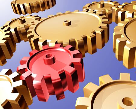 interdependent: Illustration of highly polished interlocking cogs and gears
