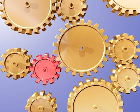 workings: Illustration of highly polished interlocking cogs and gears