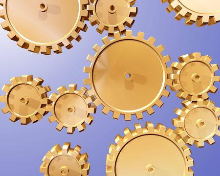 interlocking: Illustration of highly polished interlocking cogs and gears