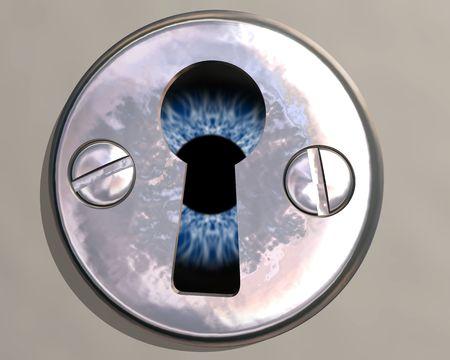 voyeur: Illustration of an eyeball peering through a keyhole