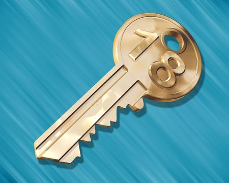 18 year old: Illustration of a golden key for an 18 year old Stock Photo