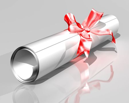 scroll of the law: Illustration of a diploma rolled into a scroll and tied with a ribbon