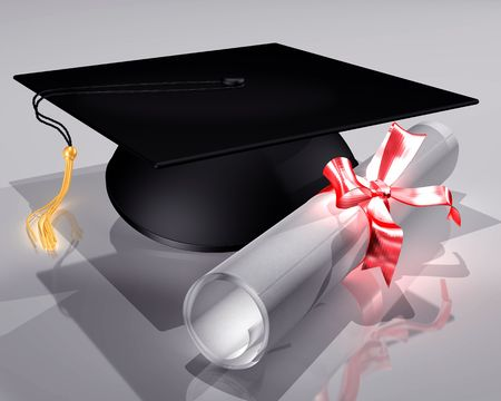 mortar board: Illustration of a mortar board and diploma tied with a ribbon