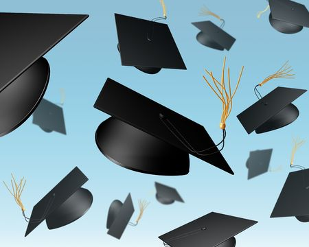 hurl: Illustration of mortar boards being thrown in the air in a celebration