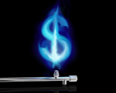 Illustration of a blue gas flame in the form of a dollar symbol illustration