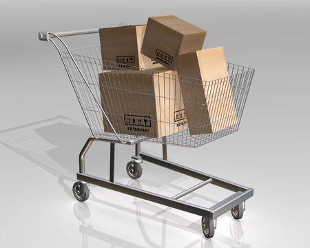 castors: Illustration of a shopping cart full of parcels