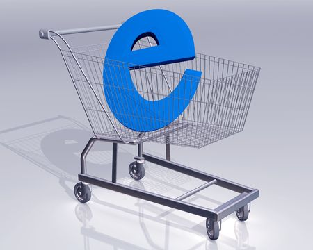 Illustration of a shopping cart with a large E symbol representing ecommerce Stock Illustration - 3614971