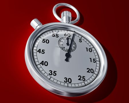 timed: Illustration of a stopwatch on a red background Stock Photo
